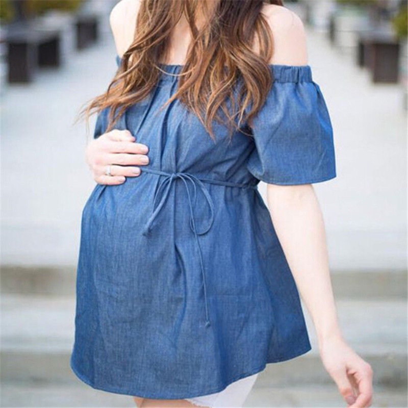 1b82e3d8c86 New Women s Short Sleeve Denim Tops Fashion 2018 Maternity Off shoulder Tops  For Pregnancy Blouse Blue Shirt For Pregnant Women-in Blouses   Shirts from  ...