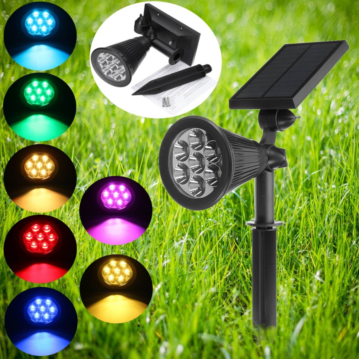 Light Sensor Solar Powered 7 RGB LED Solar Light LED Garden Lamp Spot Light Outdoor Lawn Landscape Spotlight Lighting 3W solar powered 6w 100 led rgb light water resistant flexible tube light white black