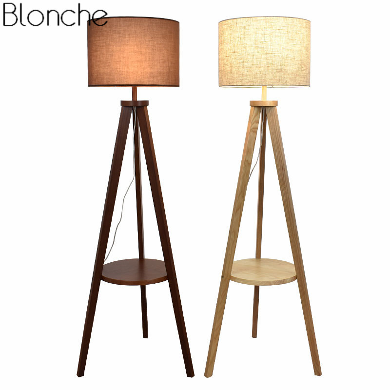 Modern Wooden Floor Lamp Fabric Lampshade Nordic Wood Standing Lamp Light for Living Room Bedroom Indoor Home Lighting Fixtures modern wood table floor lamp living room bedroom study standing lamps fabric decor home lights wooden floor standing lights