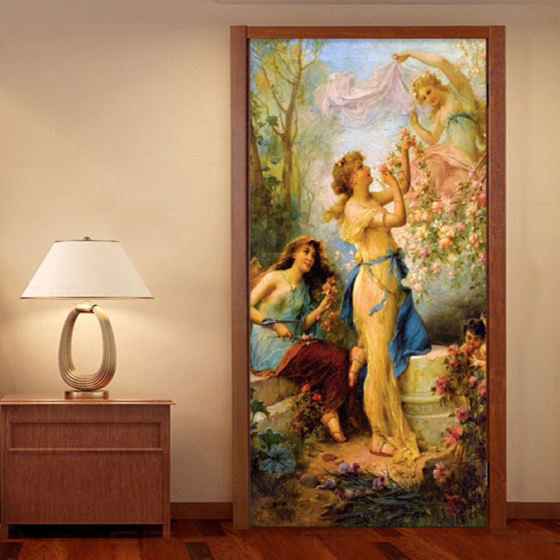 European Style Oil Painting Photo Wall Door Sticker Wallpaper Living Room Bedroom Creative Art Background Wall Covering Mural 3D