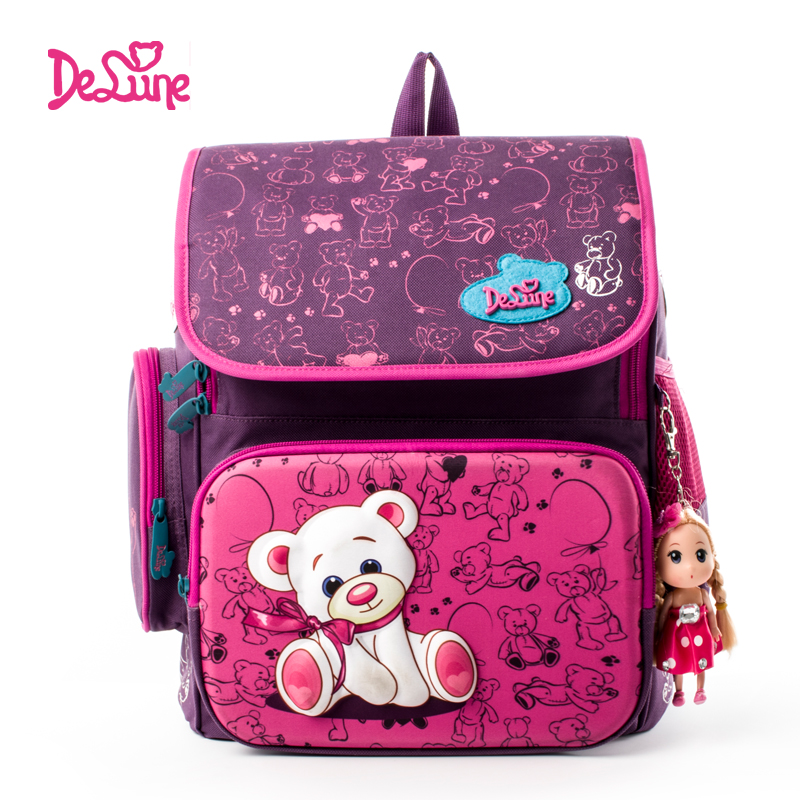 2016 New Delune Authentic School Bag Backpacks Bears Printing Schoolbags for Girls Boys Durable Backpack for Primary Students