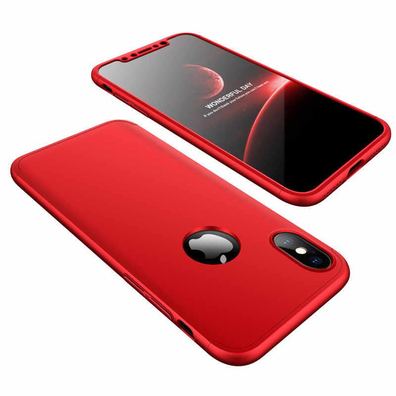 Untuk Coque iPhone X 8 7 6 6 S PLUS 5 5 S 3in1 360 Pelindung Ponsel Case Penutup untuk Apple Iphone X 8 7 6 S Plus Capa Funda + Hadiah