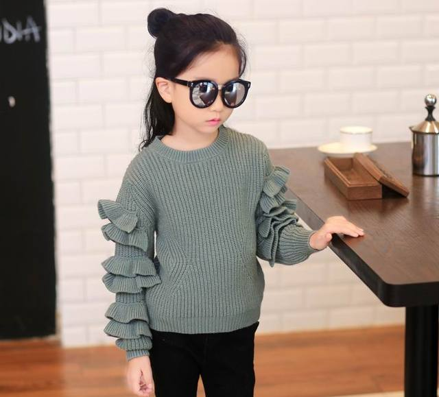 Retail 2016 Autumn New Girl Sweater Ruched Sleeve Long sleeve Solid Color Sweater Coat Children Clothing 6715