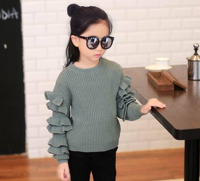 Retail 2016 Otoño Nuevo Suéter de la Muchacha Acanalada manga Larga de Color Sólido Suéter de la Capa Niños Ropa 6715