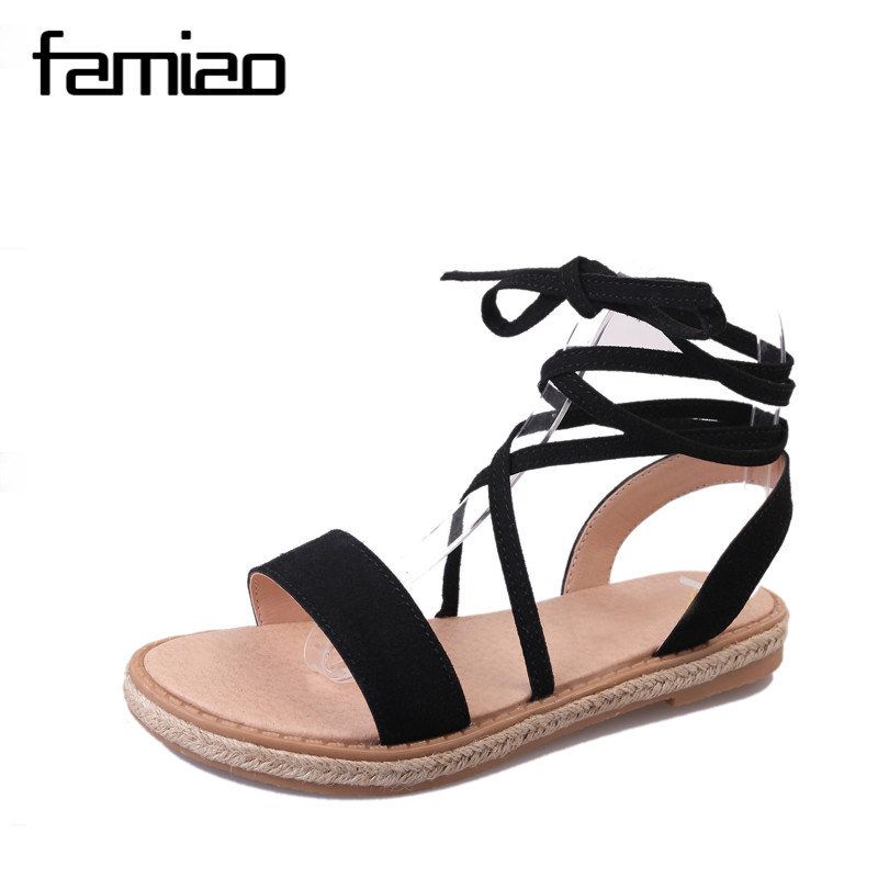 FAMIAO rand Shoes Woman Flock Gladiator Sandals Women Summer Lace Up Sandals Thick Heels Fringe Summer Beach Women Sandals