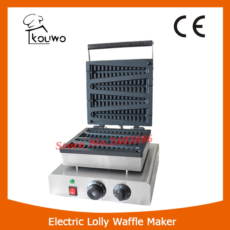 220V Non-Stick TEFLON COATED Electric Commercial Lolly Waffle Stick Baker Maker Machine commercial non stick 110v 220v electric 4pcs lolly waffle on a stick maker iron machine with drip tray