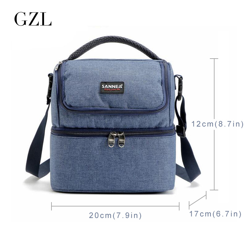 gzl oxford lunch bags for kids women lunchbox insulated storage container picnic cooler bags handbag bolsa - Insulated Cooler Bags