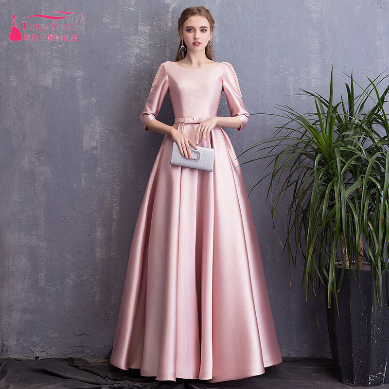 Pink Three Quarter Sleeve   Bridesmaid     Dresses   Scoop Neck Pearls Long Wedding Guest Gowns Lace Up Vestido De Festa ZB059