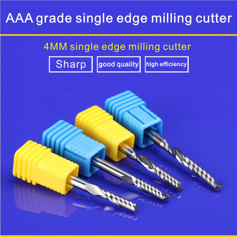 4*4*22MM AAA level Single flute edge end mill 22mm CNC milling Bits cutter End Mill for PVC/MDF/acrylic/Aluminum Spiral cutter 8mm 42mm 5pcs freeshipping cnc machine cutter solid carbide end mill acrylic milling cutter 2 flute mill pvc mdf acrylic wood
