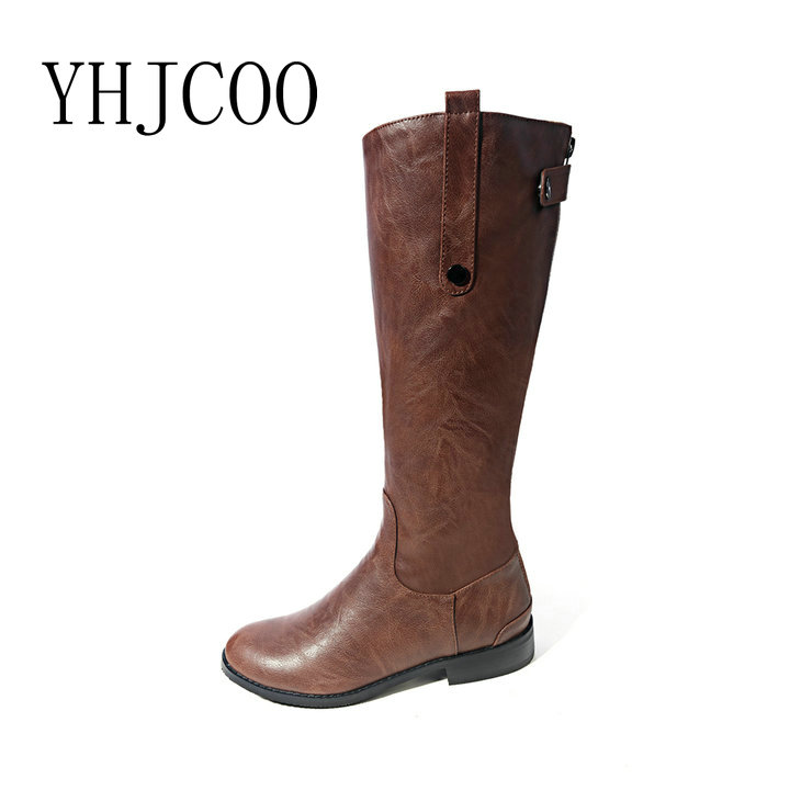 Quality PU Sexy Round Toe Low Square heel Zipper Women Boots Fashion Riding Equestrian Knee-High Boots Black Brown Shoes Woman
