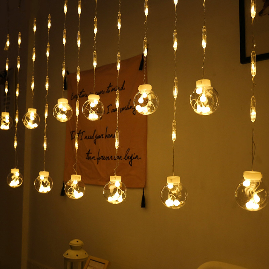Thrisdar New 2.5M 12PCS Wishing Balls LED Curtain Fairy String Lights Romantic Xmas Wedding Party Window Curtain Garland Lights