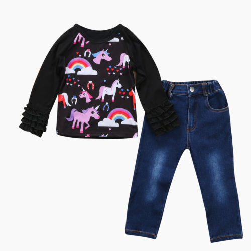 Kids Baby Girls Autumn Outfits Unicorn Tracksuit Clothes T-shirt Tops+Jeans Pants 2PCS autumn 2pcs baby girl clothes set print little animal unicorn horse rainbow long sleeve t shirt tops trousers jeans pant outfit
