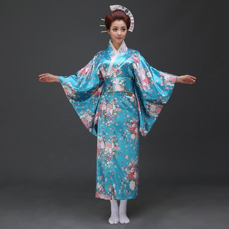 New Blue Traditional Women's Japanese Yukata With Obi Sexy Kimono Vintage Party Prom Performance Dance Costume One Size 021503