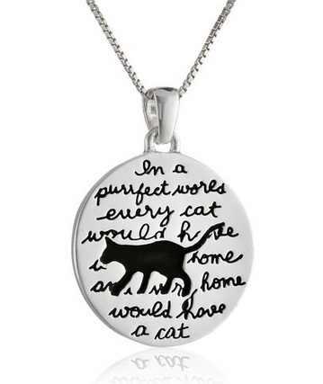 """2015 الجديدة """"الفضة"""" في العالم كل القط سيتعين purrfect المنزل وكل المنزل سيتعين القط """"عكسها قلادة قلادة"""
