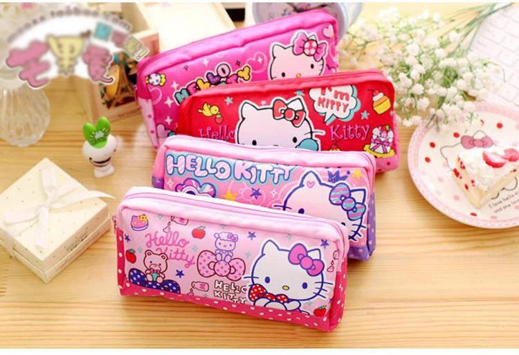 4ff04fa6ac 2019 Cartoon Kawaii Hello Kitty Canvas Cosmetic Bag Girls Makeup Bag ...