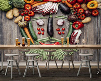 Papel de parede Vegetables Tomatoes Pepper Green peas Potato Food wallpaper dining room TV wall kitchen restaurant bar 3d mural