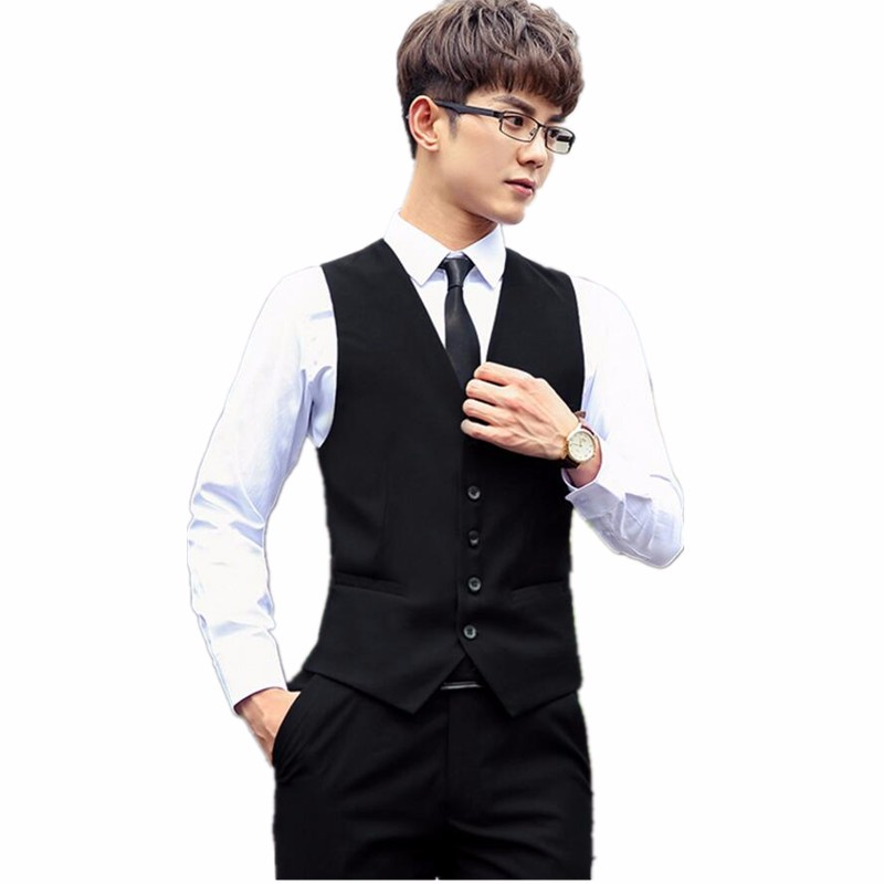 18.1 Men\'s suits waistcoat handsome hot sale the groom\'s best man wedding dress waistcoat custom single-breasted suit black vest
