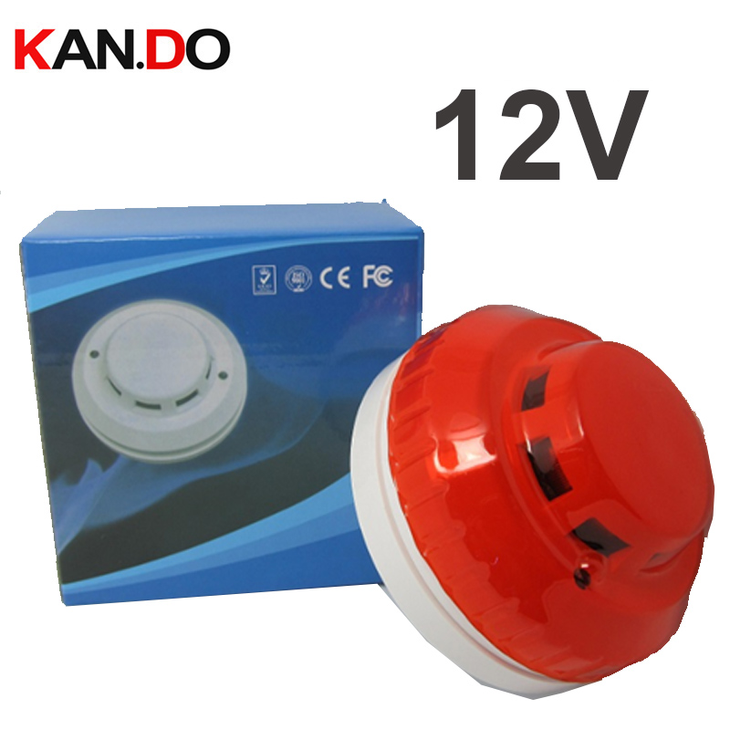 Red Color BY 12v Smoke Detector Alarm 100db Siren Smoke Alarm Smoke Sensor Alarm Fire Alarm Fire Detector FOR Security System