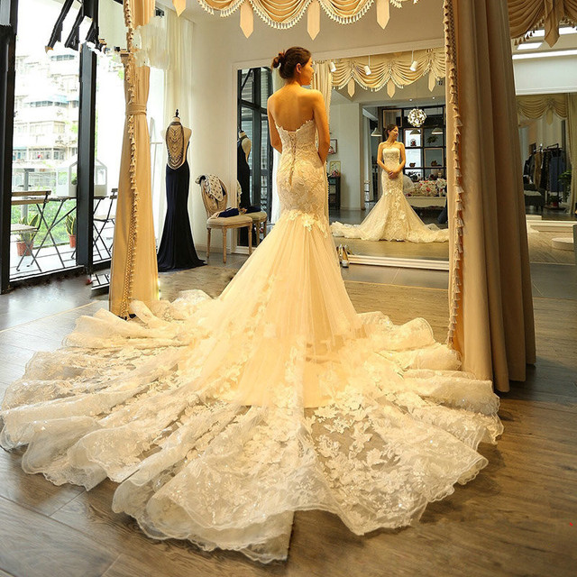 Vestido De Noiva 2017 New Chapel Train Strapless Wedding Dress Mermaid With Lace Appliques Wedding Dresses China Robe De Mariage