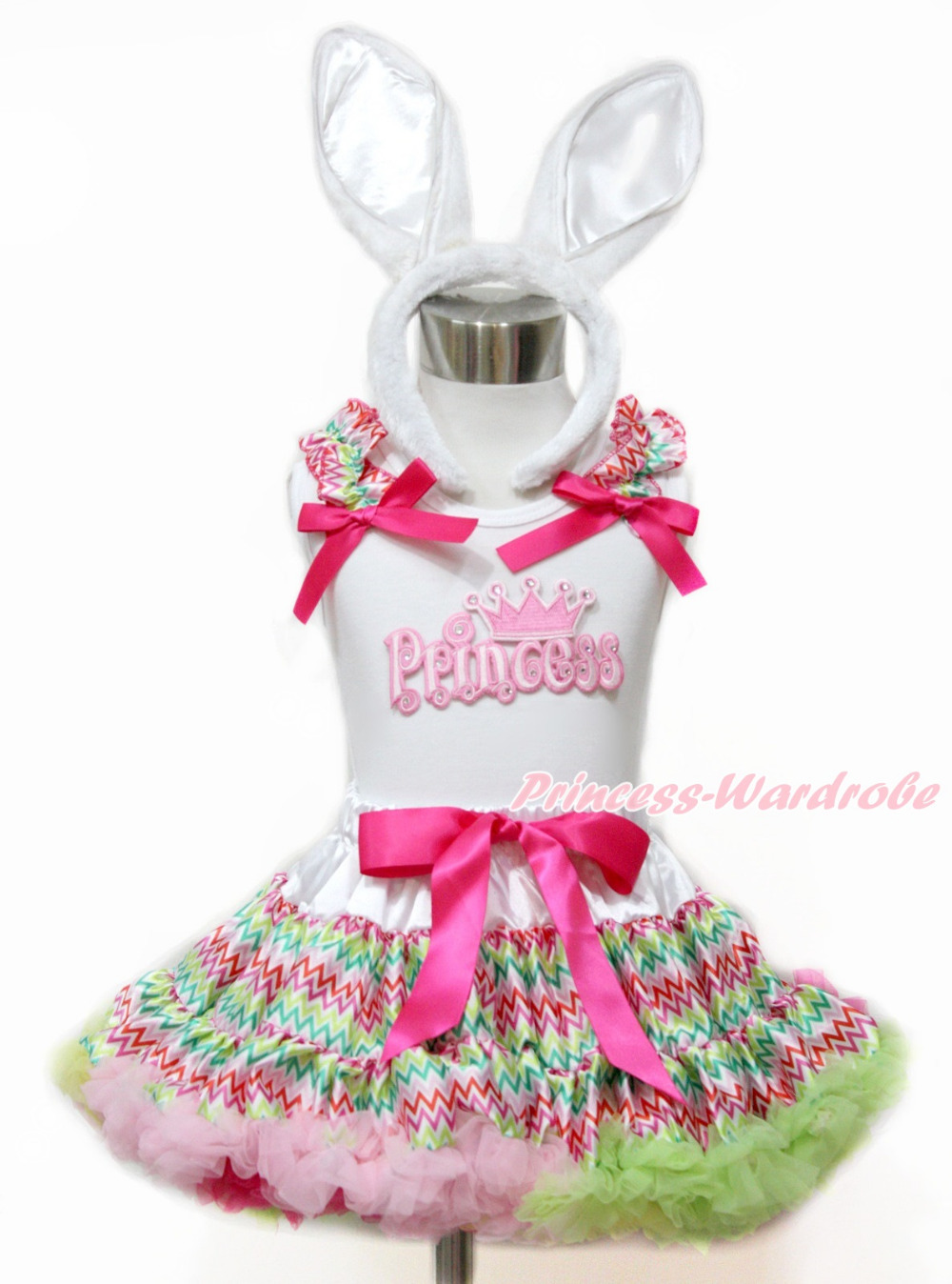 Easter Baby Girl Pink Princess White Tank Top Easter Rainbow Stripe Pettiskirt 1-8Year MAMG1100 цена и фото