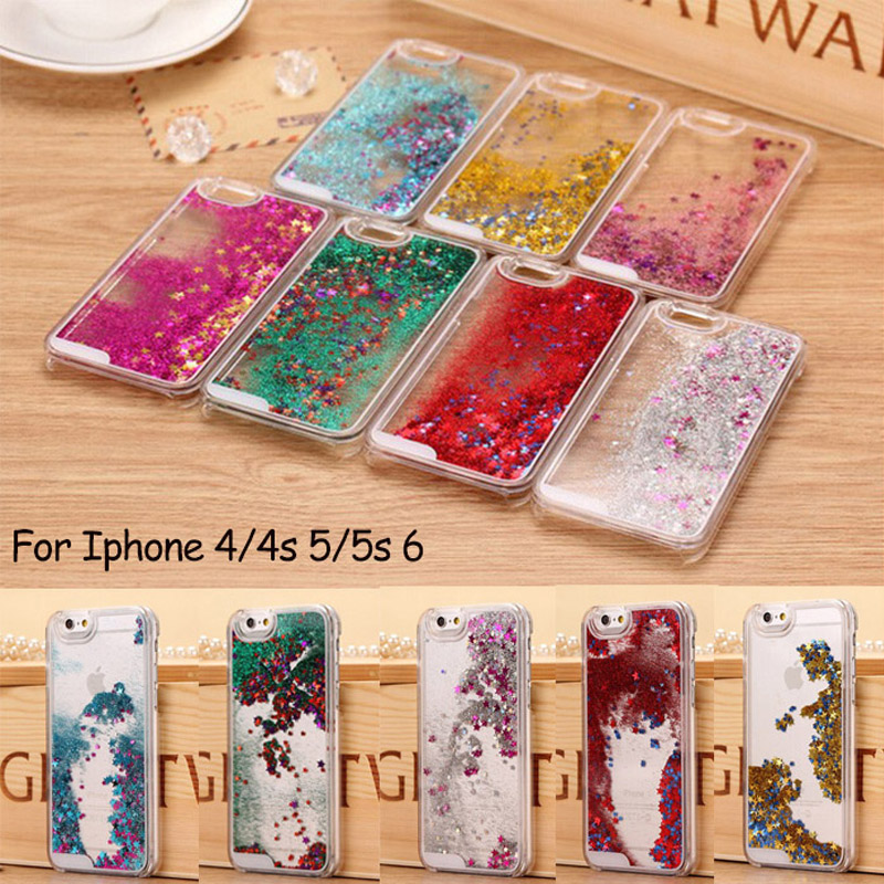 Glitter Stars Dynamic Liquid Quicksand Hard Cover For iPhone 4 4s 5 5s 6 Back Bags Transparent Print Phone Cases