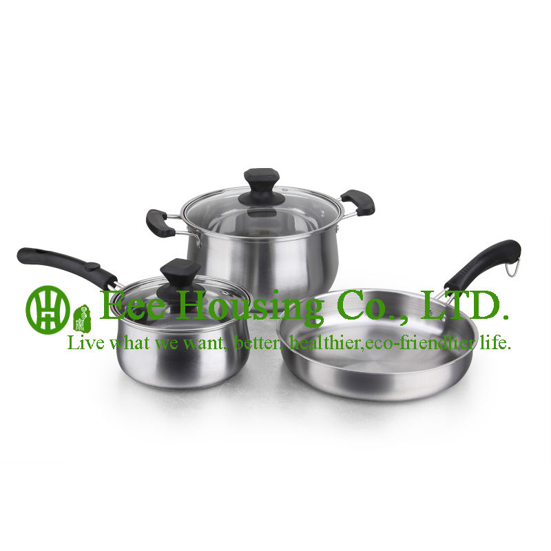 Stalinless Steel Cooking Cookware Kitchenware Set,free Shipping Factory Price, Fry Pan Wok,Soup Pot ,Milk  Pot Kitchen