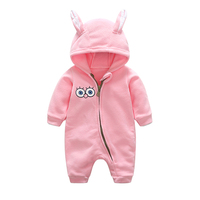 Spring Autumn Popular Polar Fleece Infant Baby Rompers Lovely Cartoon Hooded Zipper Home Wear Outfit Long