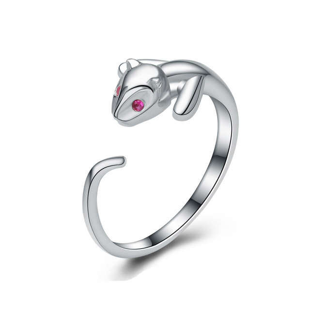 925 Sterling Silver Inlaid CZ Zircon Cat Open Rings Women Designer