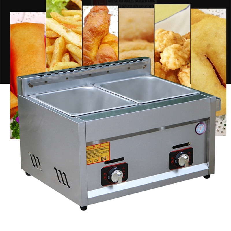Commercial stainless steel fryer gas type chicken potato two basket deep fryers ZF hy81 hy82 6l 12l stainless steel electric deep oil fryer potato chip fryer