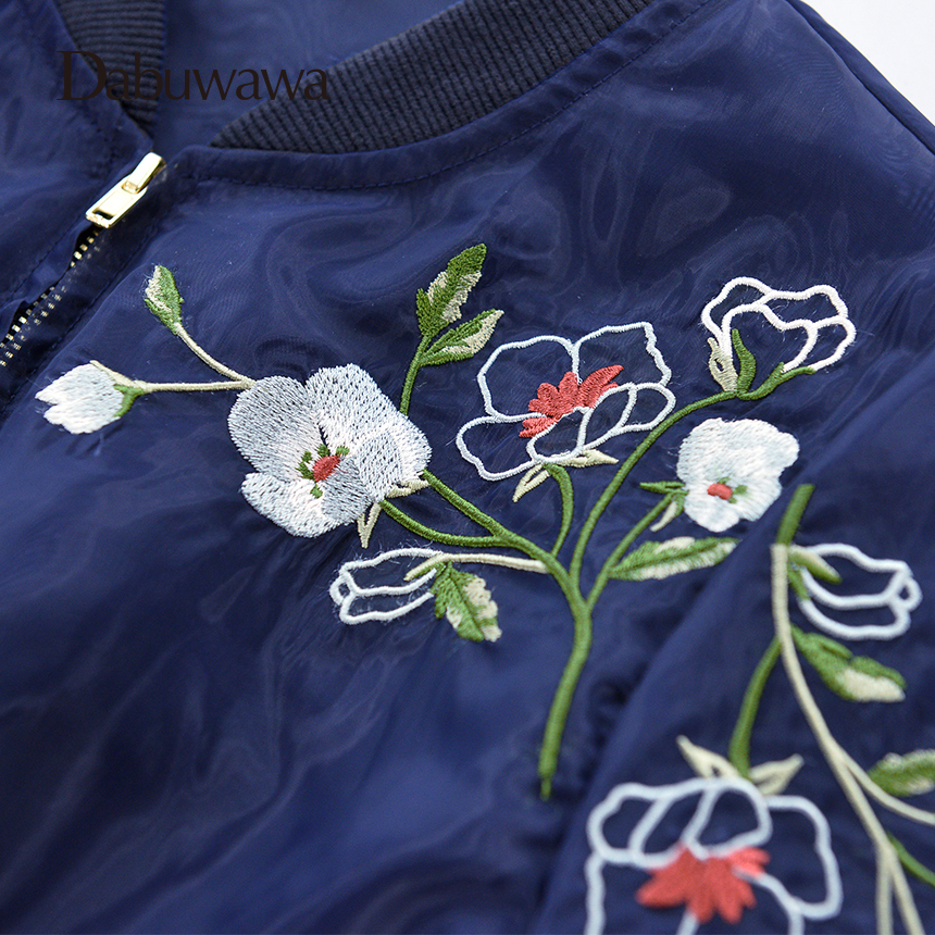 Dabuwawa Dark Blue Spring Short Bomber Jacket Floral Embroidery Jacket Women Long Sleeve Casual Baseball Coat 6