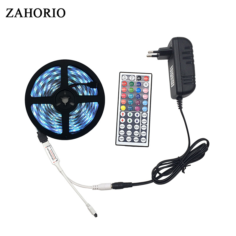 ZAHORIO 5M 10M SMD5050 RGB LED Strip light String Ribbon christmas Decor lamp Tape + 44Keys Remote Controller with Power Adapter