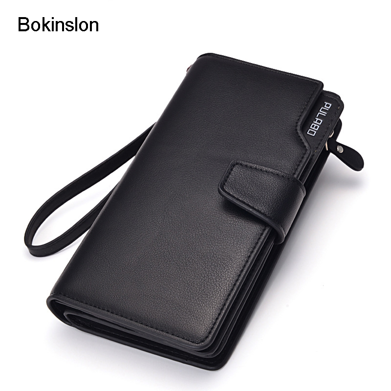 Bokinslon Leather Man Wallets PU Leather Fashion Designer Purse Wallets Men Brand Fashion Casual Men's Wallets