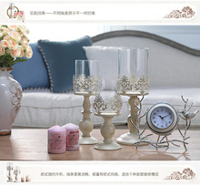 Elegant Candle Holder Stand Candlestick, Metal Base Craft Votice Large Glass Candles