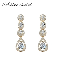 Meirenpeizi Golden Silver Color Drops Rhinestone Pendant Earrings Round Classic Temperament Copper Zircon Jewelry