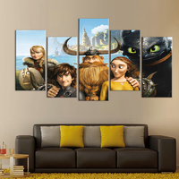 Anime modern movie posters print oil paintings Child room decoration 5 piece canvas art Modular pictures pokemon figures