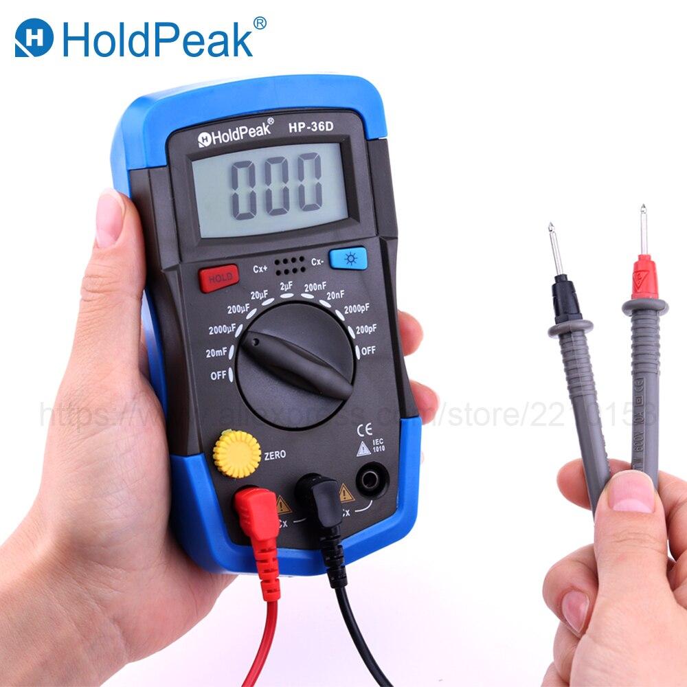 HoldPeak Mini Multimètre LCD Numérique compteur De Capacité Condensateur Testeur pF mF Circuit Jauge 36D Rétro-Éclairage