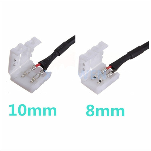 5/10 pcs 10mm 8mm 2pin  Female Barrel DC Adapter Power LED Strip Connector Cable For SMD 5050 5630 3528 led Strip free Soldering