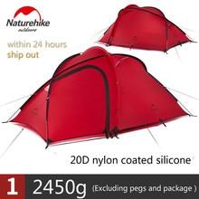 Naturehike Сверхлегкая палатка 20D силиконовая ткань водостойкая двухслойная 2-3Person 4 сезонная семейная палатка