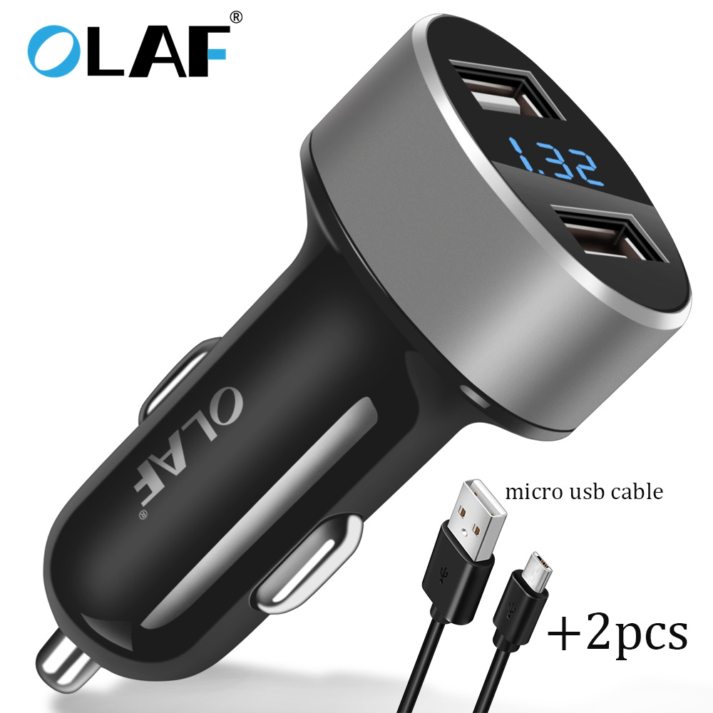 5V 2.4A USB Car-Charger with LED Screen Smartphone Car Charger Adapter Charging micro cable for Samsung Xiaomi Car Phone charger
