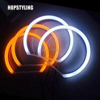 Hopstyling Voiture style Double couleur BLANC Jaune 4X131 MM Led Halo Anneaux pour BMW E36 E38 E39 E46 Angel Eye Lampe 240 LED PUCES