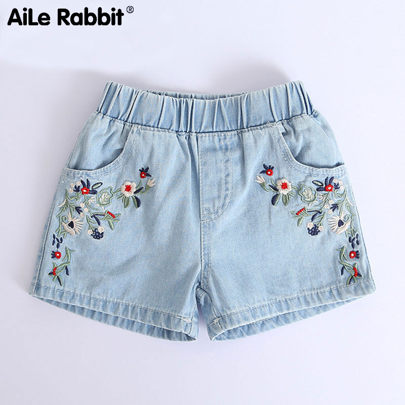 AiLe Rabbit 2018 Kids   Shorts   Kids Embroidered Flowers Fashion Denim   Shorts   Girls Clothes Wild Style Summer Promotions