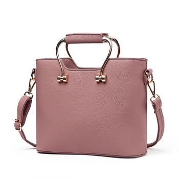 Elegant Pink PU Office Lady Handbag Clutch Fashion Metal Handle Women Crossbody Messanger Tote