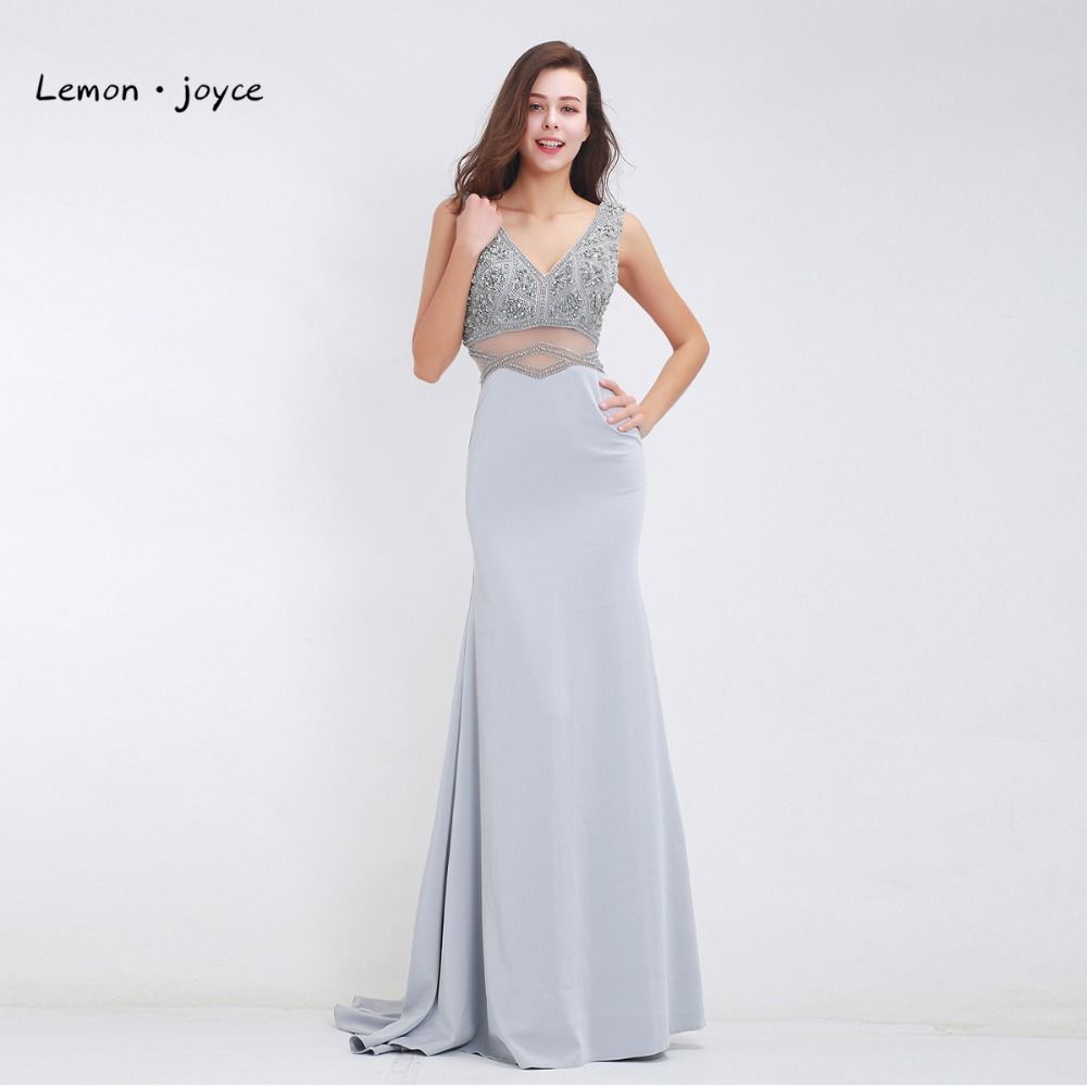 formal dress for wedding grey evening dress 2018 with v neck beading 4313