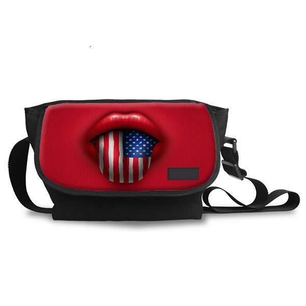 Customized Multi-function USA Flag Pettern Spanish Travel Bags Canvas Messenger Bag Women Teenager Girls Casual Bags