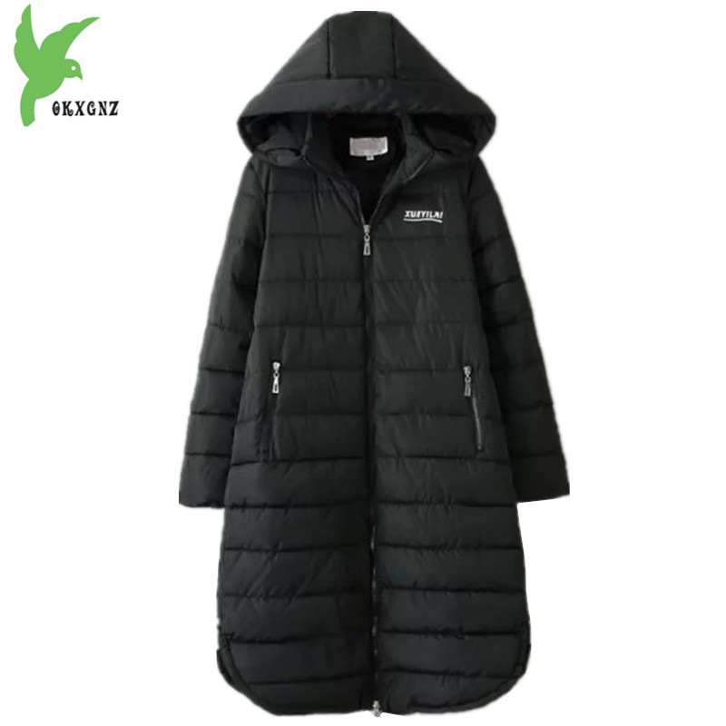 Plus size 6XL Women Winter Down cotton Jackets New Fashion Black Hooded Cotton Coats Long Section Warm Top Outerwear OKXGNZ 1405 olgitum 2017 women vest jackets new fashion thickening solid casual cotton fashion hooded outerwear