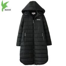 Plus size 6XL Women Winter Down cotton Jackets New Fashion Black Hooded Cotton Coats Long Section Warm Top Outerwear OKXGNZ 1405
