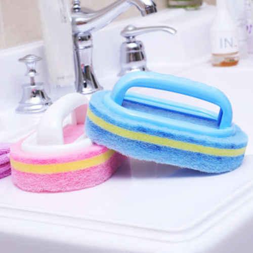 الحمام الطابق أسفنجة مطبخ أسفل حمام حوض جدار البلاط الأزرق تنظيف فرشاة مع مقابض قوس تصميم سميكة وصلبة نظافة