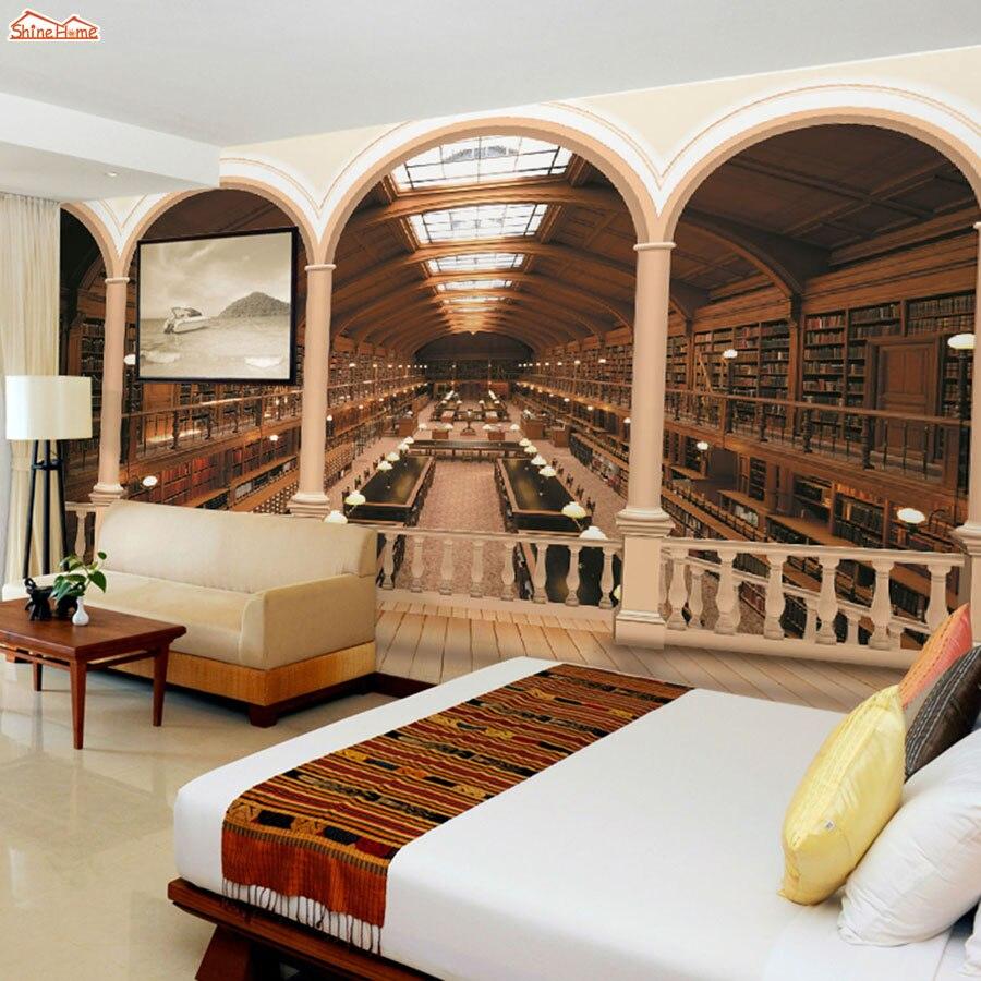 Realistic 3d illustration of modern wooden bookshelf against ston - Shinehome Rome Column Library Bookshelf 3d Wallpaper Murals For Livingroom Walls Roll Wall Paper Roll