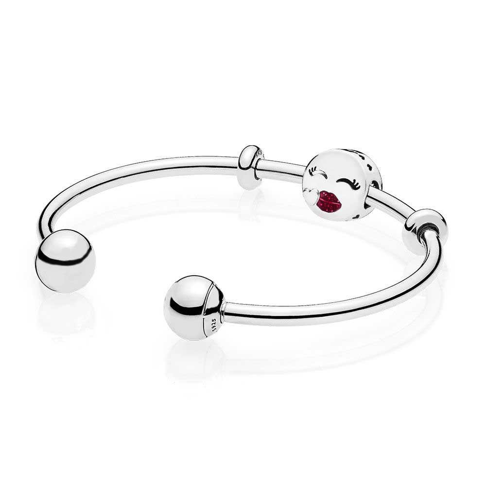 EDELL 925 Sterling silver Cute Kiss Open Bangle Gift Set Clear CZ fit DIY Original charm Bracelets jewelry A set of prices 100% 925 sterling silver you and me bangle gift set clear cz fit diy original charm bracelets jewelry a set of prices