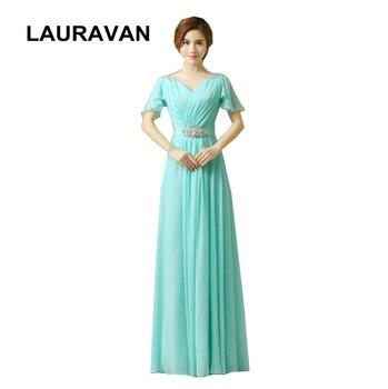 blue chiffon hot pink red fuchsia mint v neck capped evening floor length gown v neck dress women long special dresses
